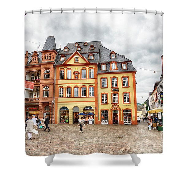 Trier, Germany,  People By Market Day Shower Curtain