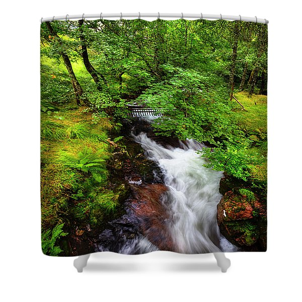 Waterfall In The Forest Shower Curtain
