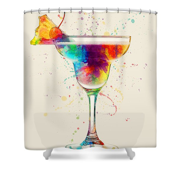 Cocktail Drinks Glass Watercolor Shower Curtain
