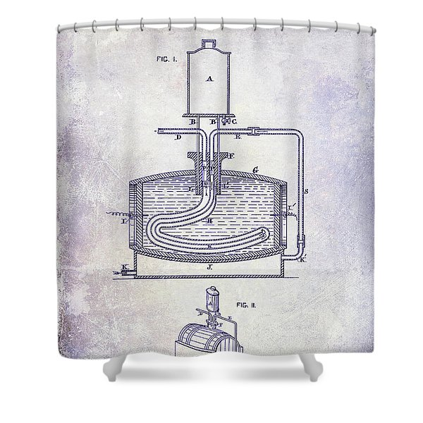 1880 Liquor Aging Patent Blueprint Shower Curtain