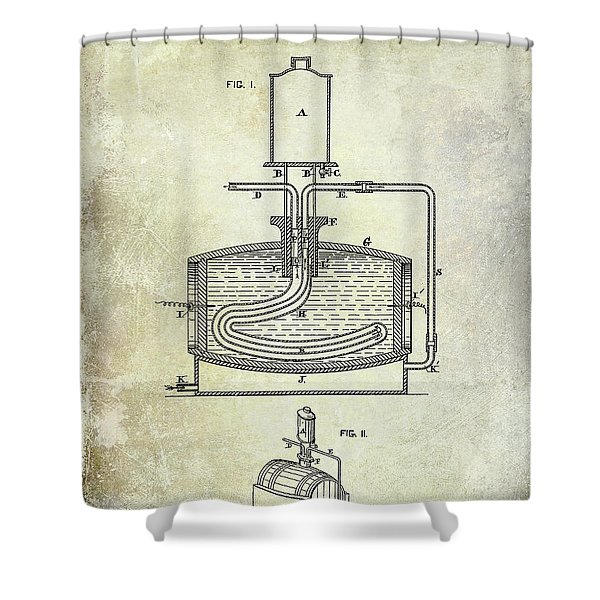 1880 Liquor Aging Patent Shower Curtain