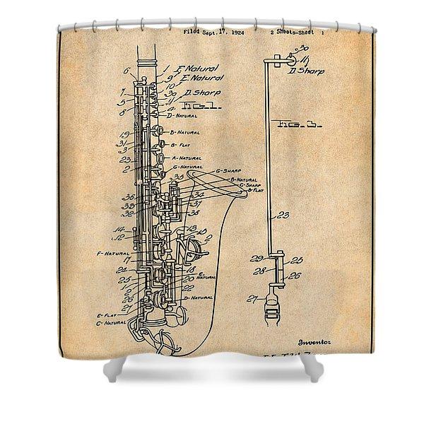 1924 Saxophone Antique Paper Patent Print Shower Curtain