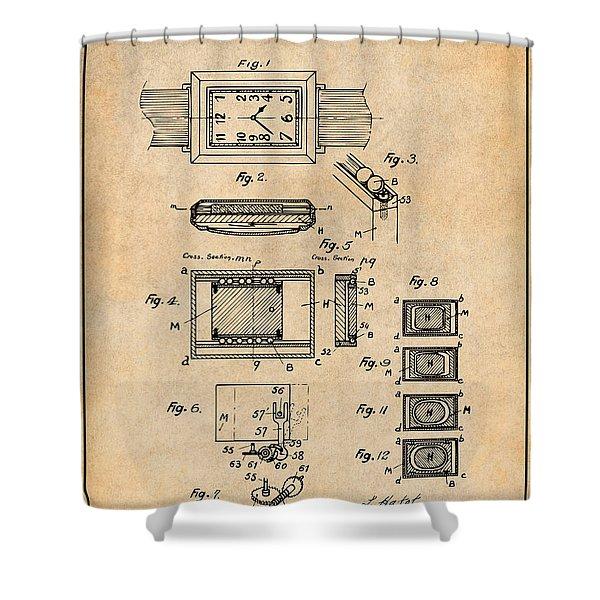 1930 Leon Hatot Self Winding Watch Patent Print Antique Paper Shower Curtain