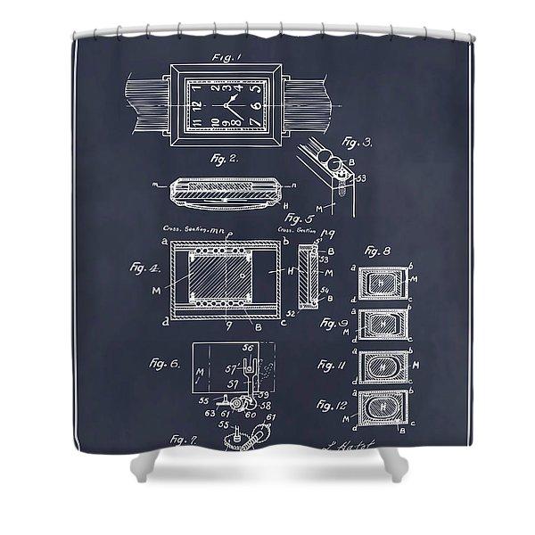1930 Leon Hatot Self Winding Watch Patent Print Blackboard Shower Curtain