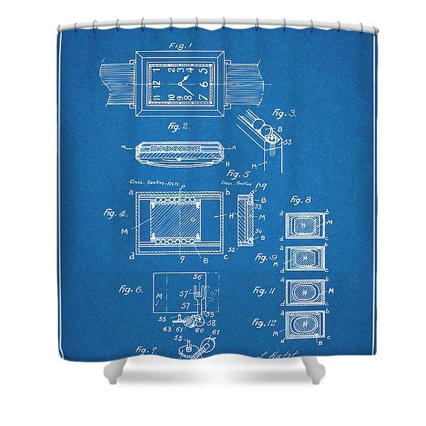 1930 Leon Hatot Self Winding Watch Patent Print Bluebrint Shower Curtain