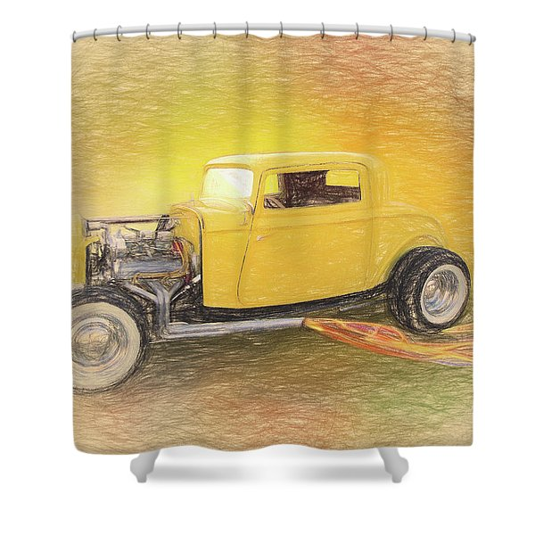 1932 Ford Coupe Yellow Shower Curtain