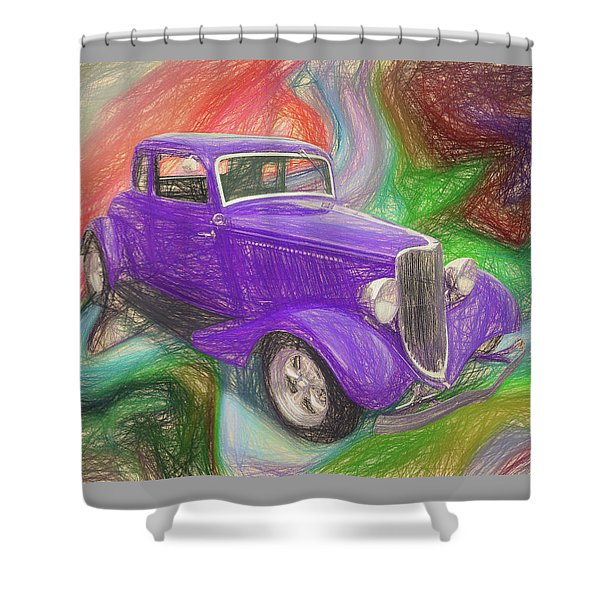 1934 Ford Colored Pencil Shower Curtain