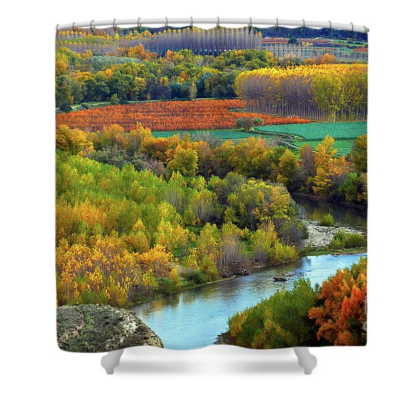 Autumn Colors On The Ebro River Shower Curtain