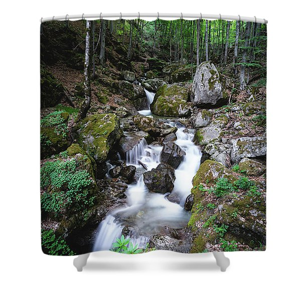 Shower Curtain featuring the photograph Bela River, Balkan Mountain by Milan Ljubisavljevic