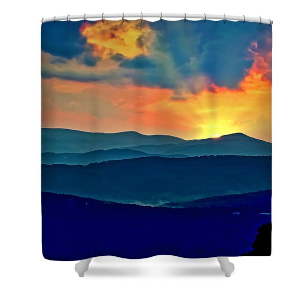Shower Curtain featuring the photograph Blue Ridge Mountains Sunset by Meta Gatschenberger