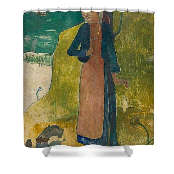 Breton Girl Spinning Shower Curtain