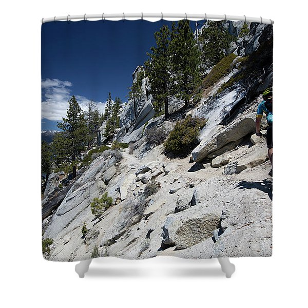 Cyclist On Mountain Road, Lake Tahoe Shower Curtain