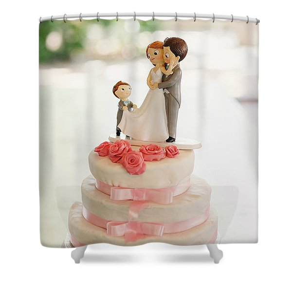 Desserts And Wedding Cake With Very Sweet Cupcakes At An Event. Shower Curtain