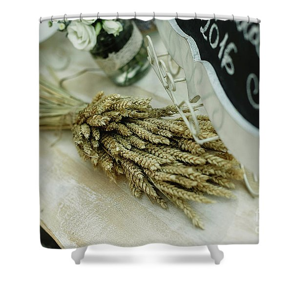 Floral Decorations In The Spaces Of A Wedding Restaurant. Shower Curtain