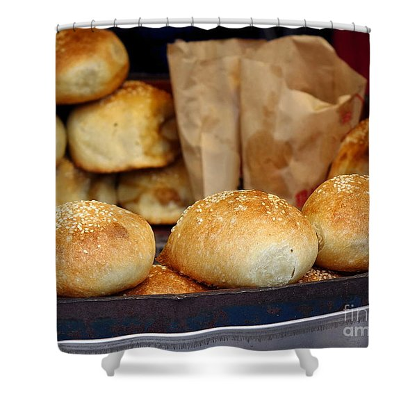 Freshly Baked Buns With Stuffing Shower Curtain