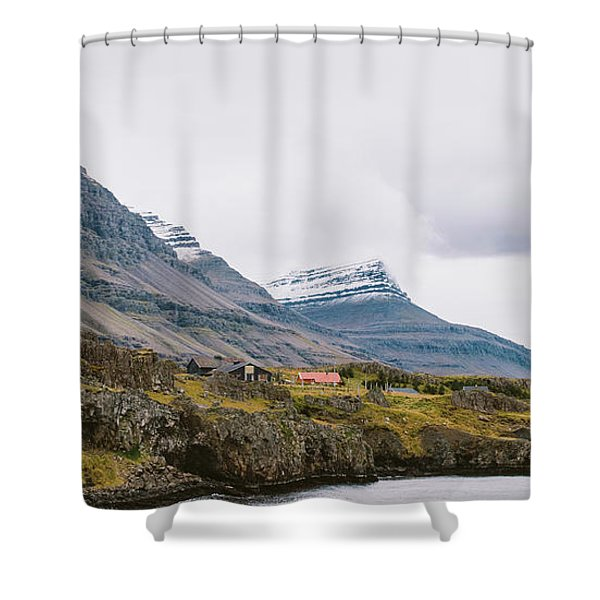 High Icelandic Or Scottish Mountain Landscape With High Peaks And Dramatic Colors Shower Curtain