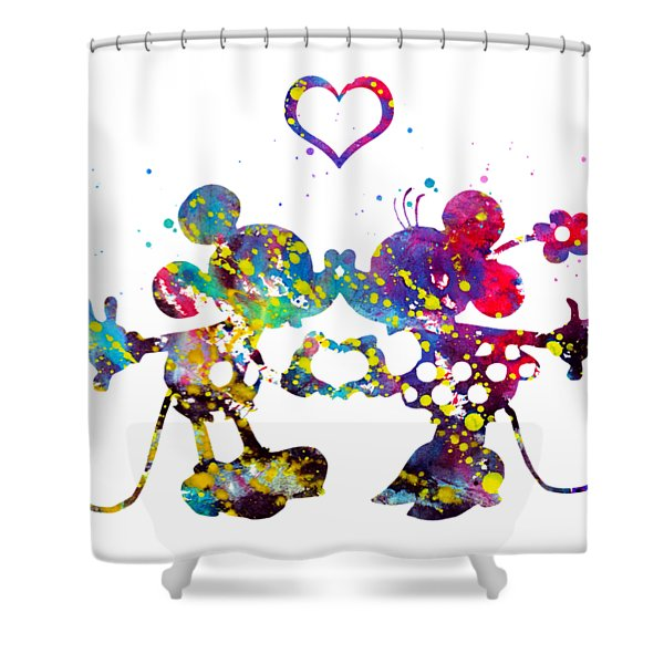 Mickey And Minnie Mouse In Love Shower Curtain