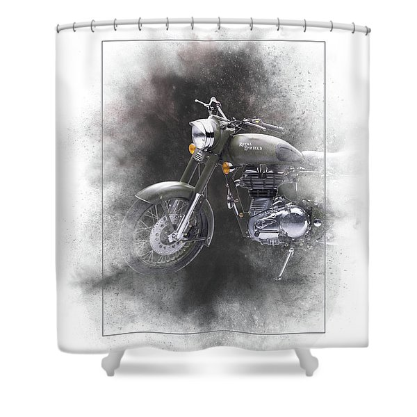 Royal Enfield Classic 500 Painting Shower Curtain