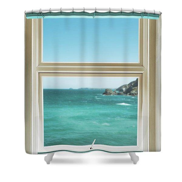 Window Overlooking The Ocean Shower Curtain