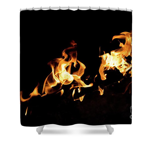 Flames In The Fire Of A Red And Yellow Barbecue. Shower Curtain