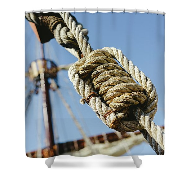 Rigging And Ropes On An Old Sailing Ship To Sail In Summer. Shower Curtain