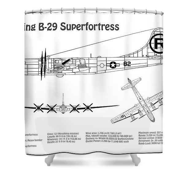 b-29 superfortress enola gay - airplane blueprint  drawing plans for the  boeing b