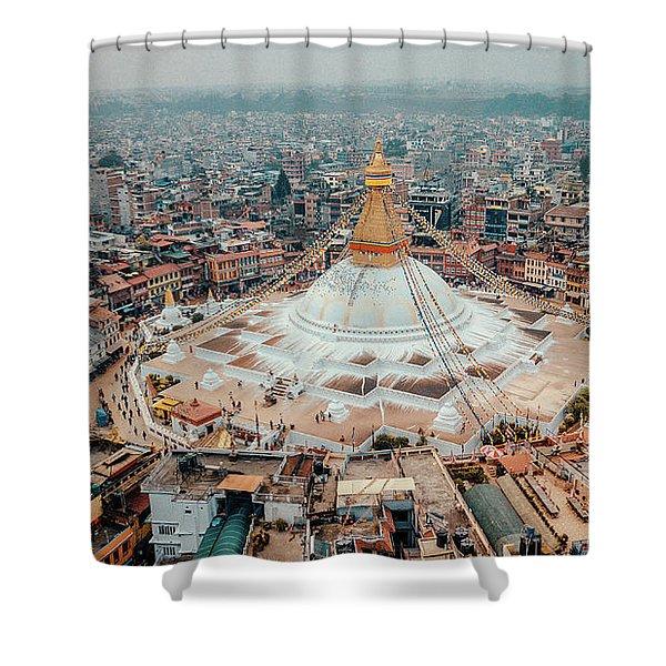Shower Curtain featuring the photograph Stupa Temple Bodhnath Kathmandu, Nepal From Air October 12 2018 by Raimond Klavins