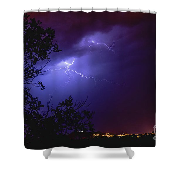 Rays In A Night Storm With Light And Clouds. Shower Curtain
