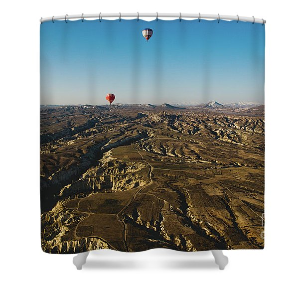 Colorful Balloons Flying Over Mountains And With Blue Sky Shower Curtain