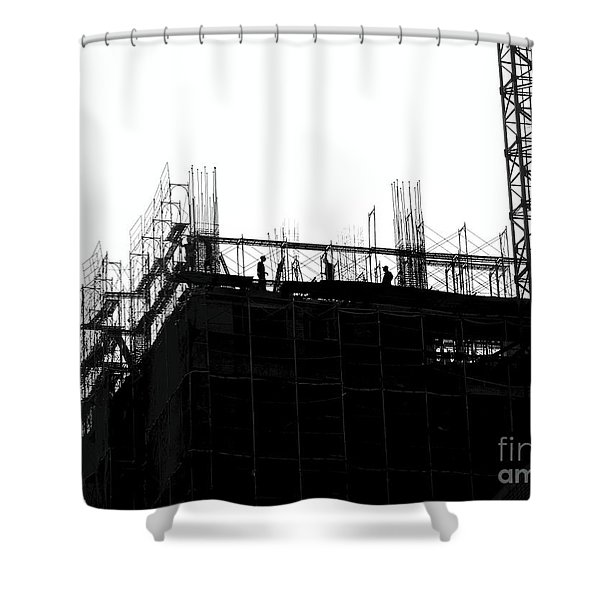 Large Scale Construction In Outline Shower Curtain