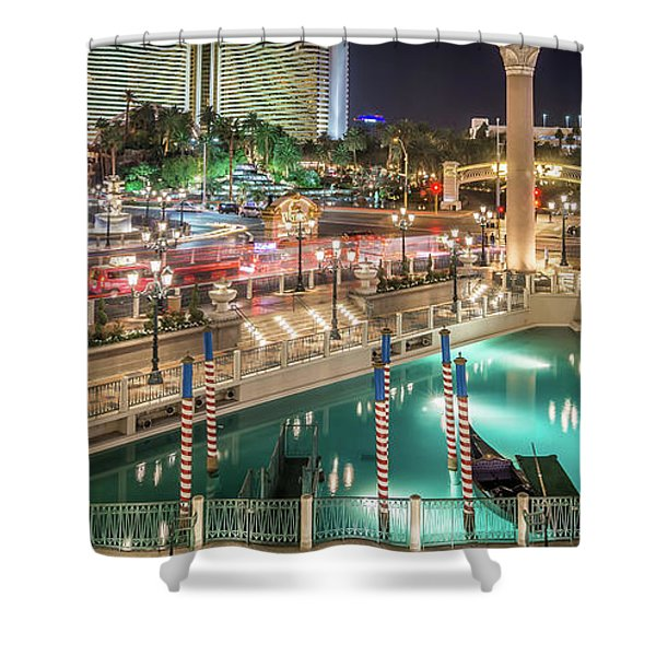 View Of The Venetian Hotel Resort And Casino Shower Curtain