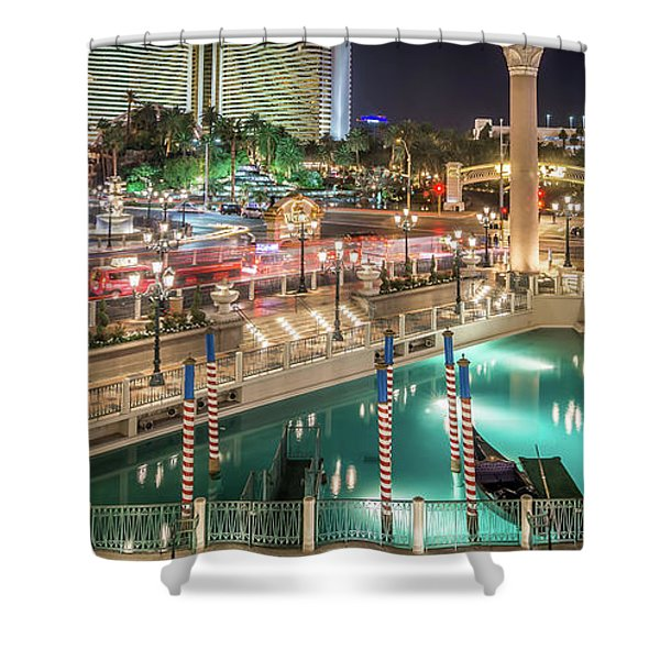 Shower Curtain featuring the photograph View Of The Venetian Hotel Resort And Casino by Alex Grichenko