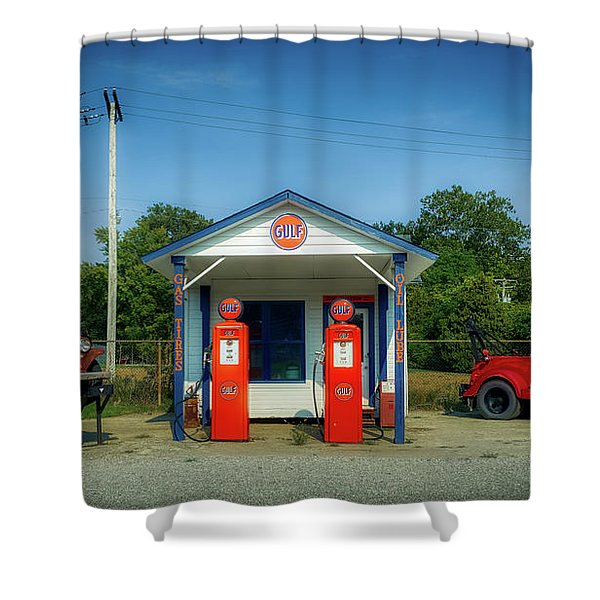 Vintage Gas Station Shower Curtain