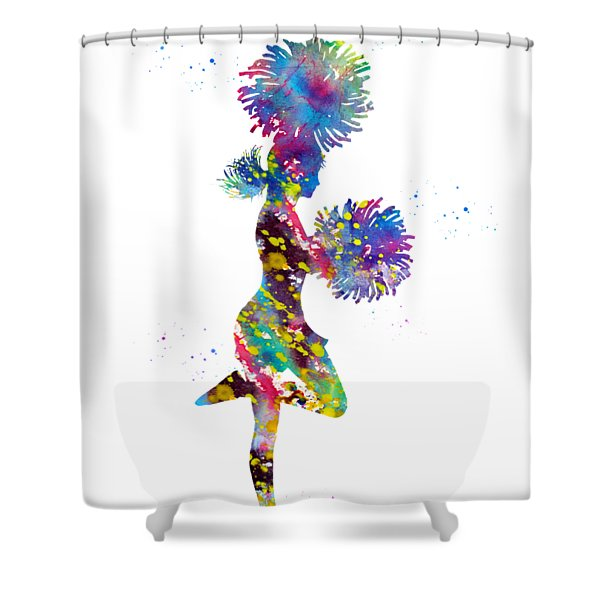 Cheerleader With Pompoms Shower Curtain