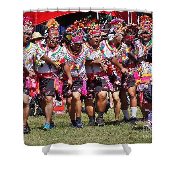 Members Of The Amis Tribe In Traditional Costumes Shower Curtain