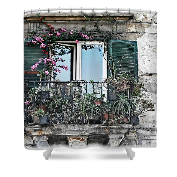 A Balcony In Palermo Shower Curtain