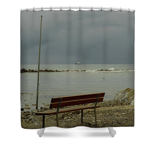 A Bench On Which To Expect, By The Sea Shower Curtain