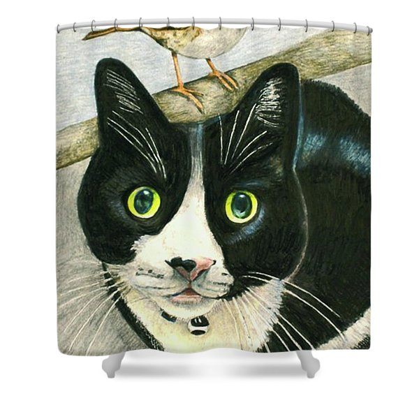 A Cat Named Sparrow Shower Curtain