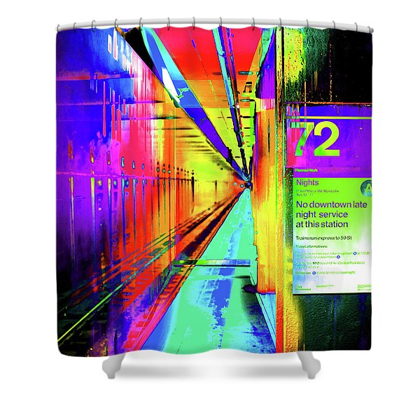 A Colorful Subway Stop Number 72 Shower Curtain