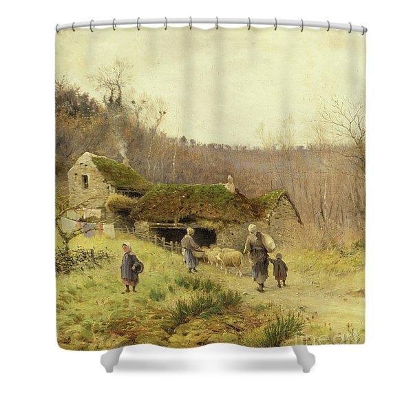 A Country Farmstead Shower Curtain