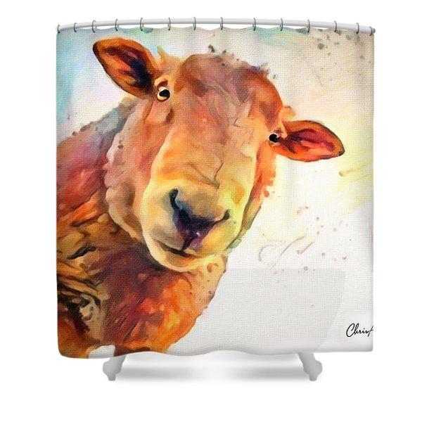 A Curious Sheep Called Shawn Shower Curtain