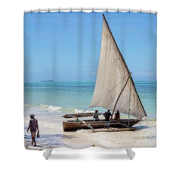 A Dhow In Zanzibar Shower Curtain