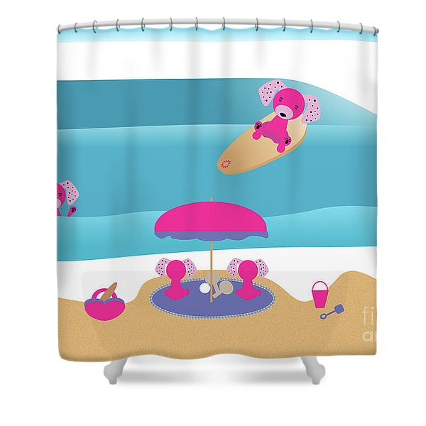 A Dog Family Surf Day Out Shower Curtain