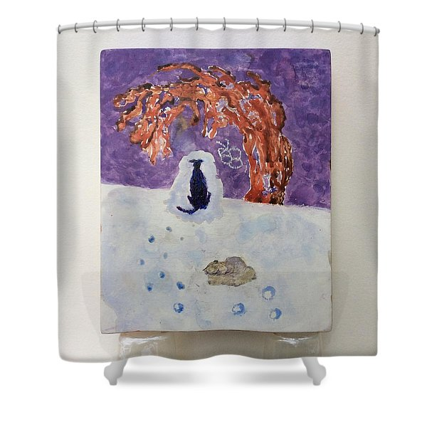 A Dog Named Novak At Home In Heaven Shower Curtain
