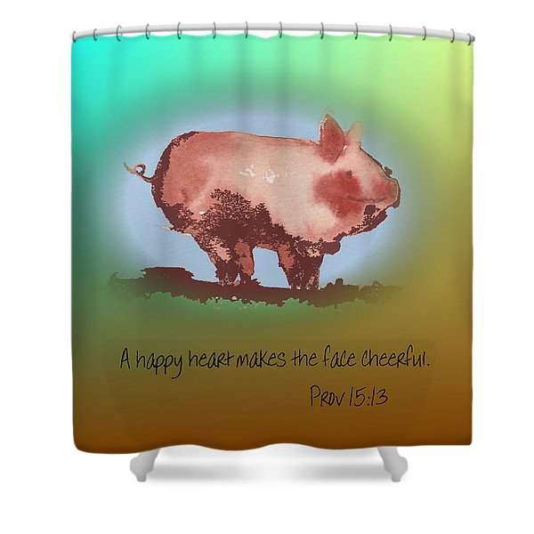 A Happy Heart Shower Curtain