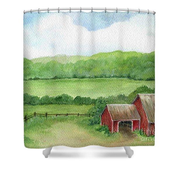 A Homestead View Shower Curtain
