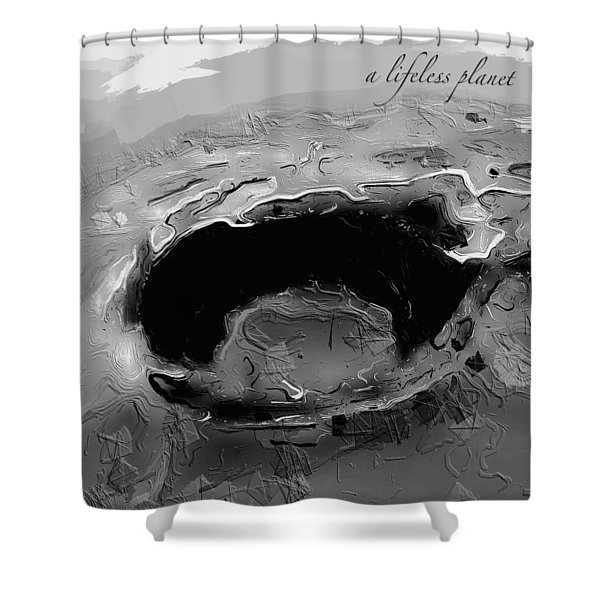 Shower Curtain featuring the digital art A Lifeless Planet Black by ISAW Company