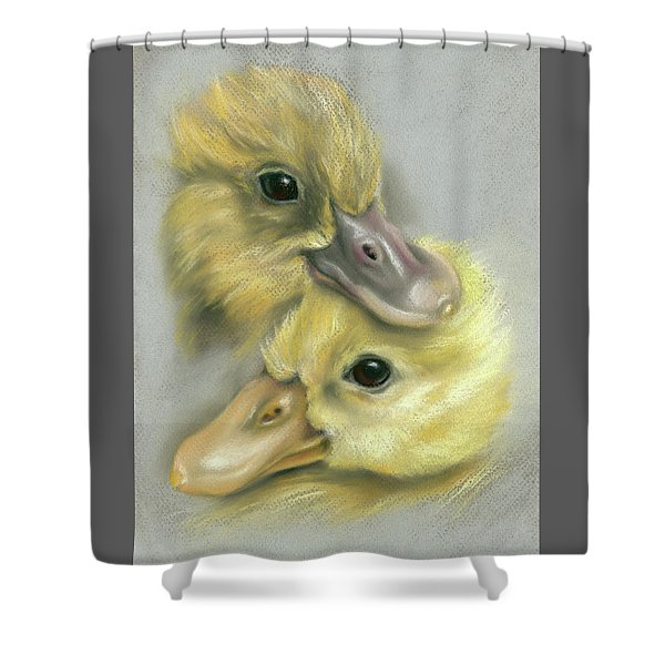 A Pair Of Friendly Ducklings Shower Curtain