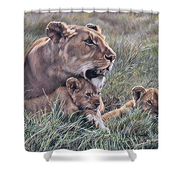 Shower Curtain featuring the painting A Quiet Moment Lioness And Lion Cubs by Alan M Hunt