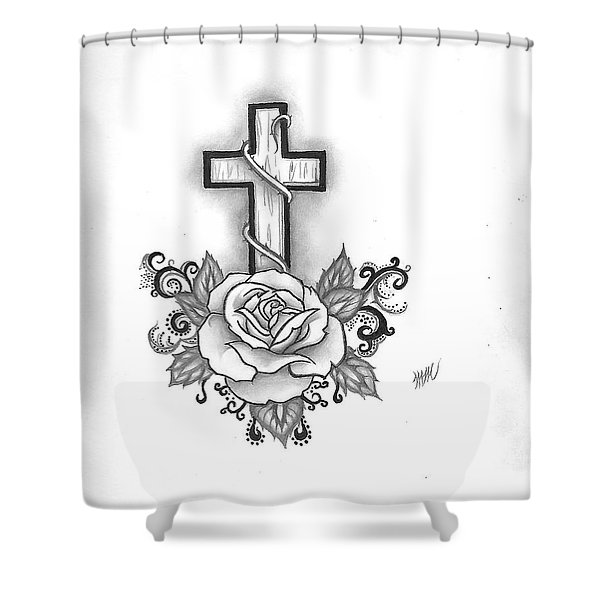 Shower Curtain featuring the drawing A Rose And A Cross by Marissa McAlister